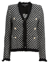 Arya Fringed Tweed Jacket, BLK/WHT, hi-res