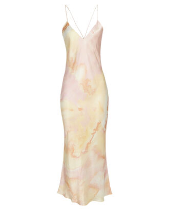 Lewis Tie-Dye Silk Slip Dress, PINK/YELLOW, hi-res