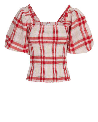 Seersucker Check Smock Top, RED/PALE PINK, hi-res