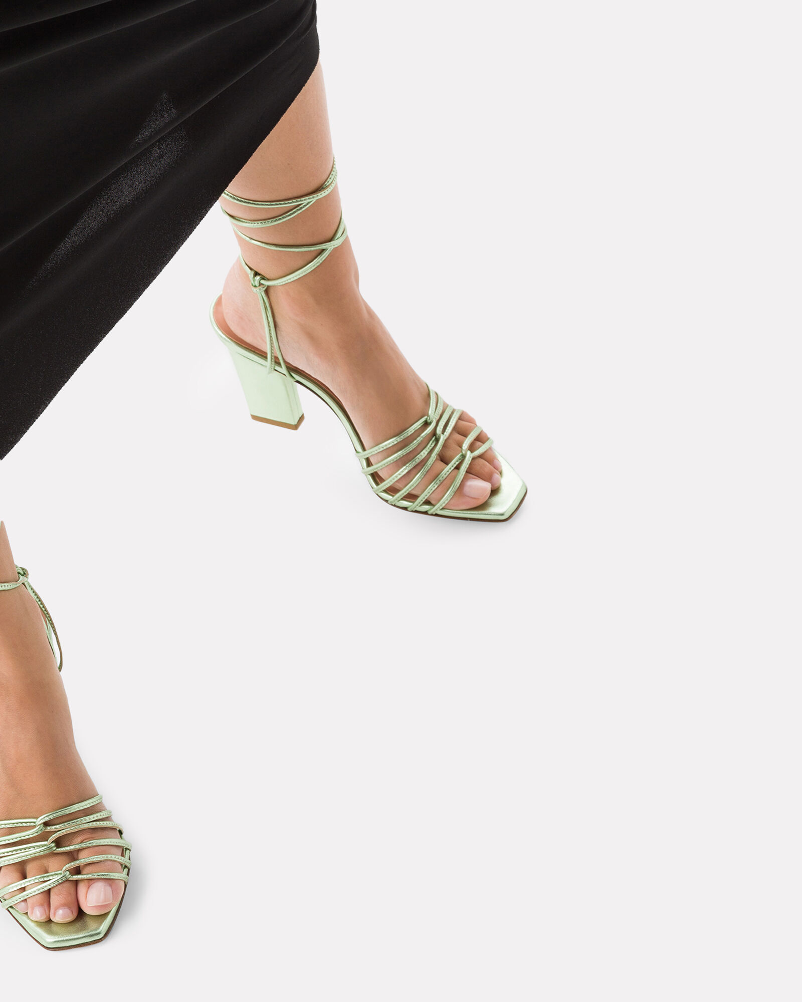 Daisy Strappy Leather Sandals, GREEN, hi-res