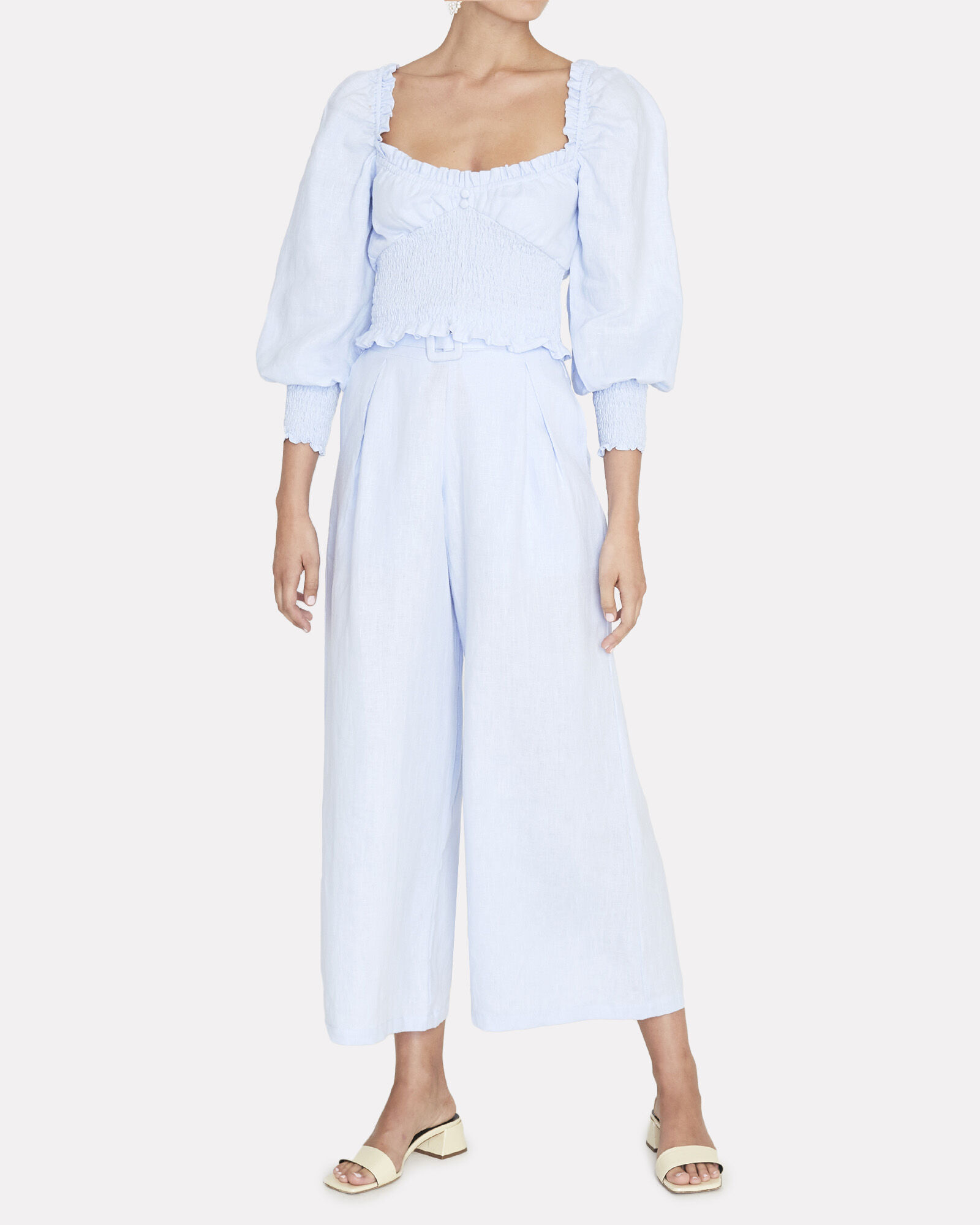 Lena Wide-Leg Linen Pants, LIGHT BLUE, hi-res