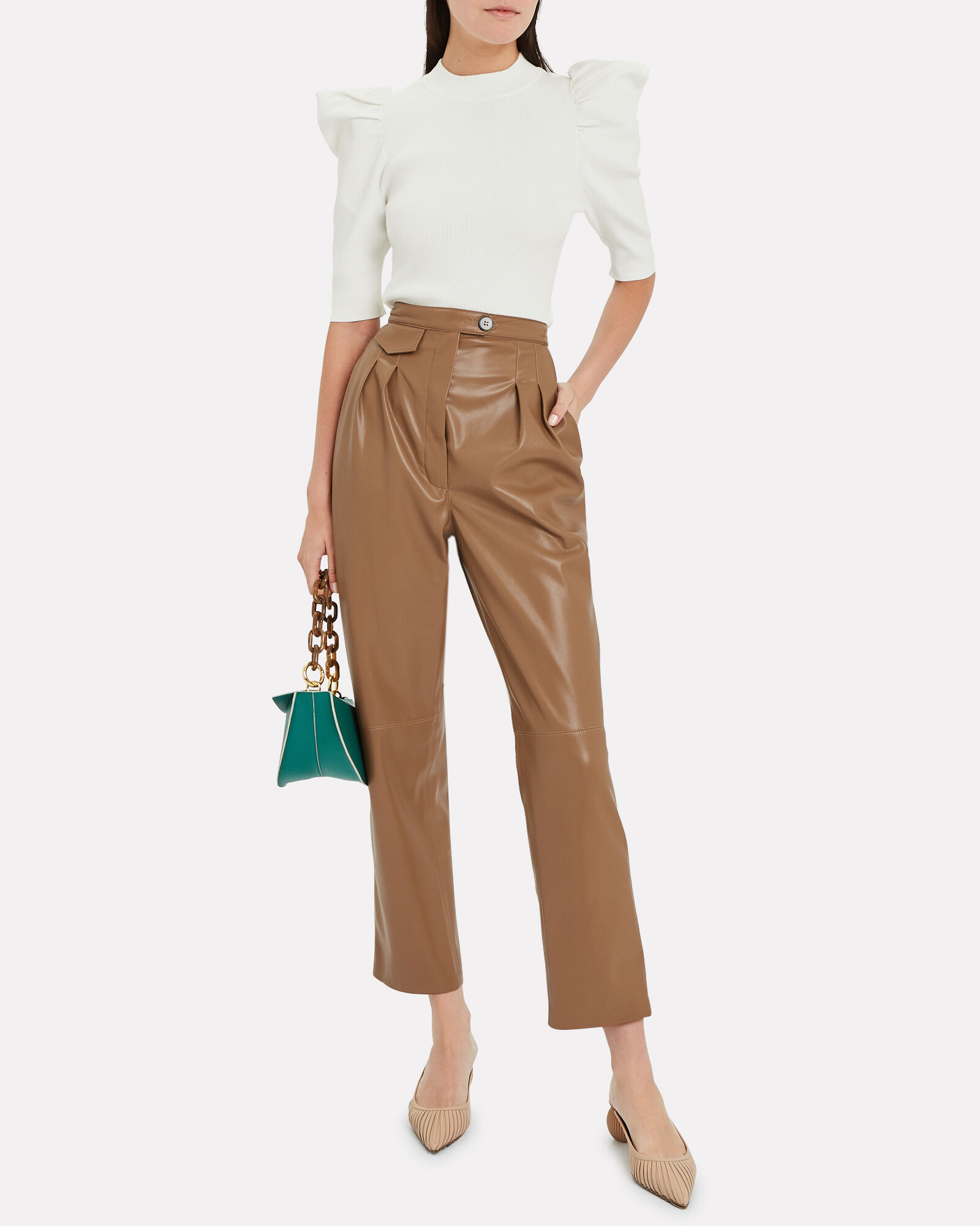 Mitsu Vegan Leather Tapered Trousers, COGNAC, hi-res