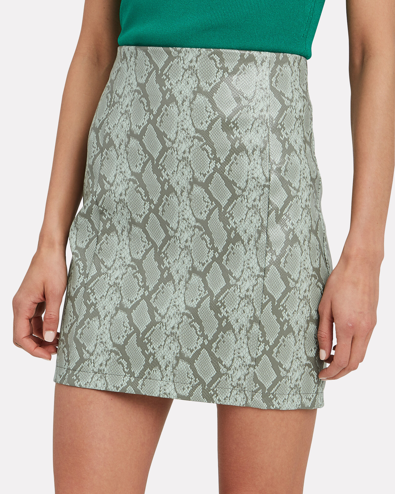 Rida Snakeprint Mini Skirt, GREEN-LT, hi-res