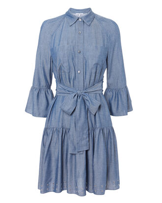 Grommet Denim Dress, BLUE DENIM, hi-res