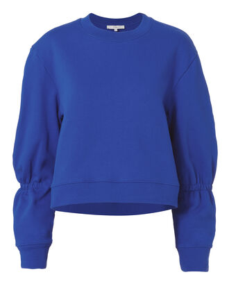 Sculpted Sleeve Royal Blue Sweatshirt, BLUE-MED, hi-res