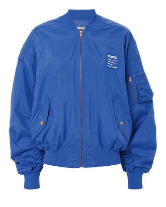 Cargo Pocket Logo Blue Bomber Jacket, BLUE-MED, hi-res