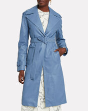 Leather Belted Trench Coat, CORNFLOWER, hi-res