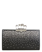 Skull Four Ring Crystal Studded Leather Clutch, BLACK, hi-res