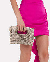 Iside Crystal-Embellished Clutch, WHITE, hi-res
