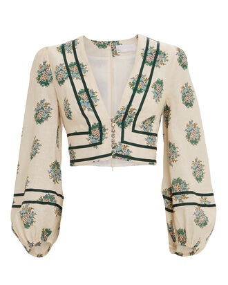 Verity Floral Cropped Blouse, IVORY/FLORAL, hi-res