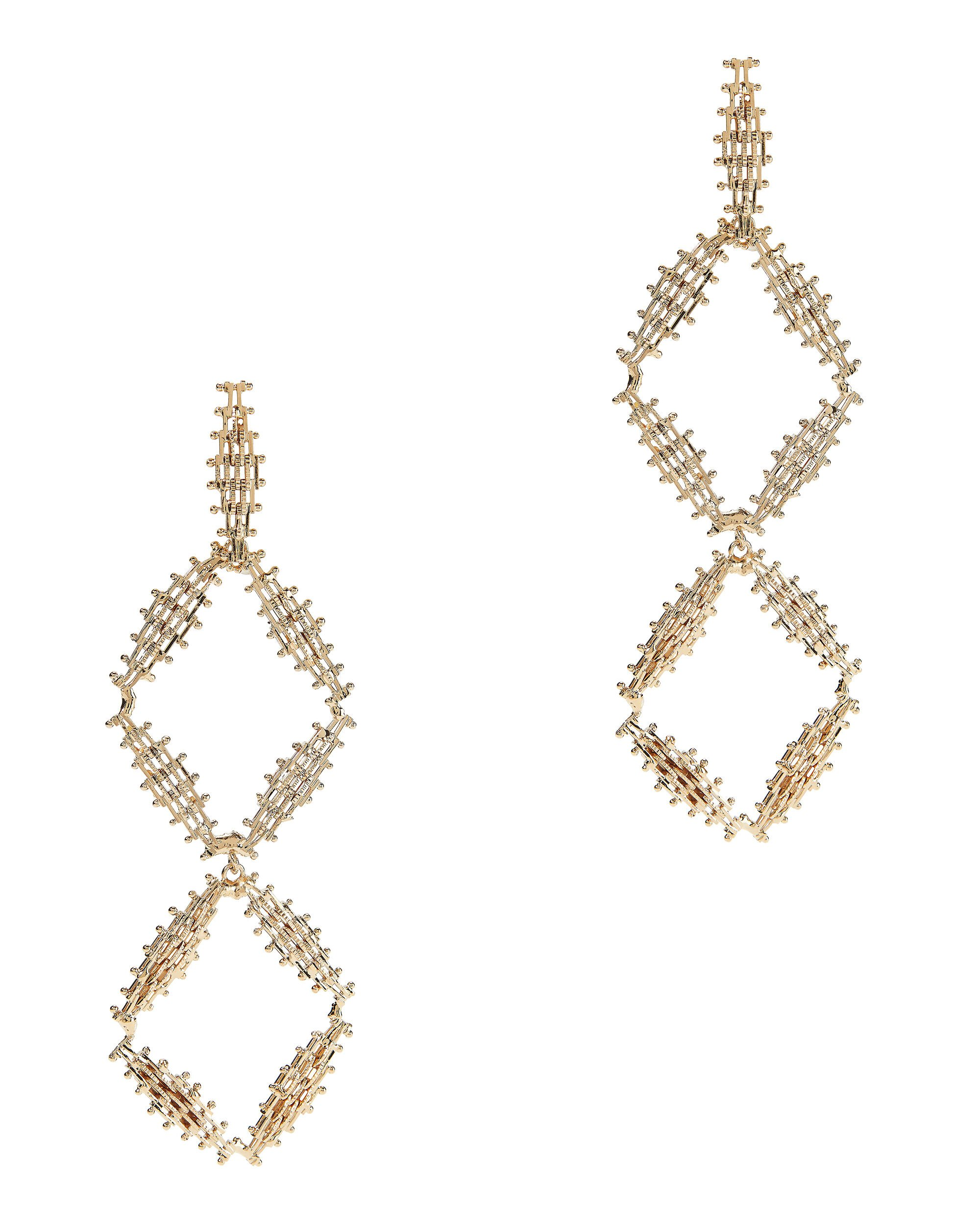 Volutta Double Diamond Drop Earrings, GOLD, hi-res