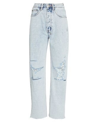 Brooklyn Distressed Straight-Leg Jeans, MUSE RIPPED, hi-res