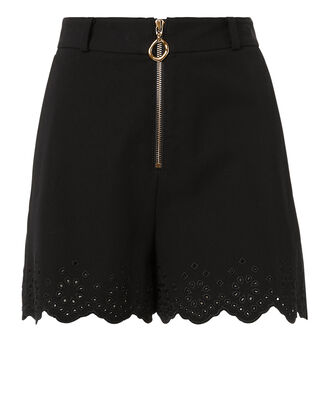 Eyelet Hem Shorts, BLACK, hi-res