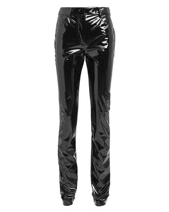 Tech Patent Vegan Leather Pants, BLACK, hi-res