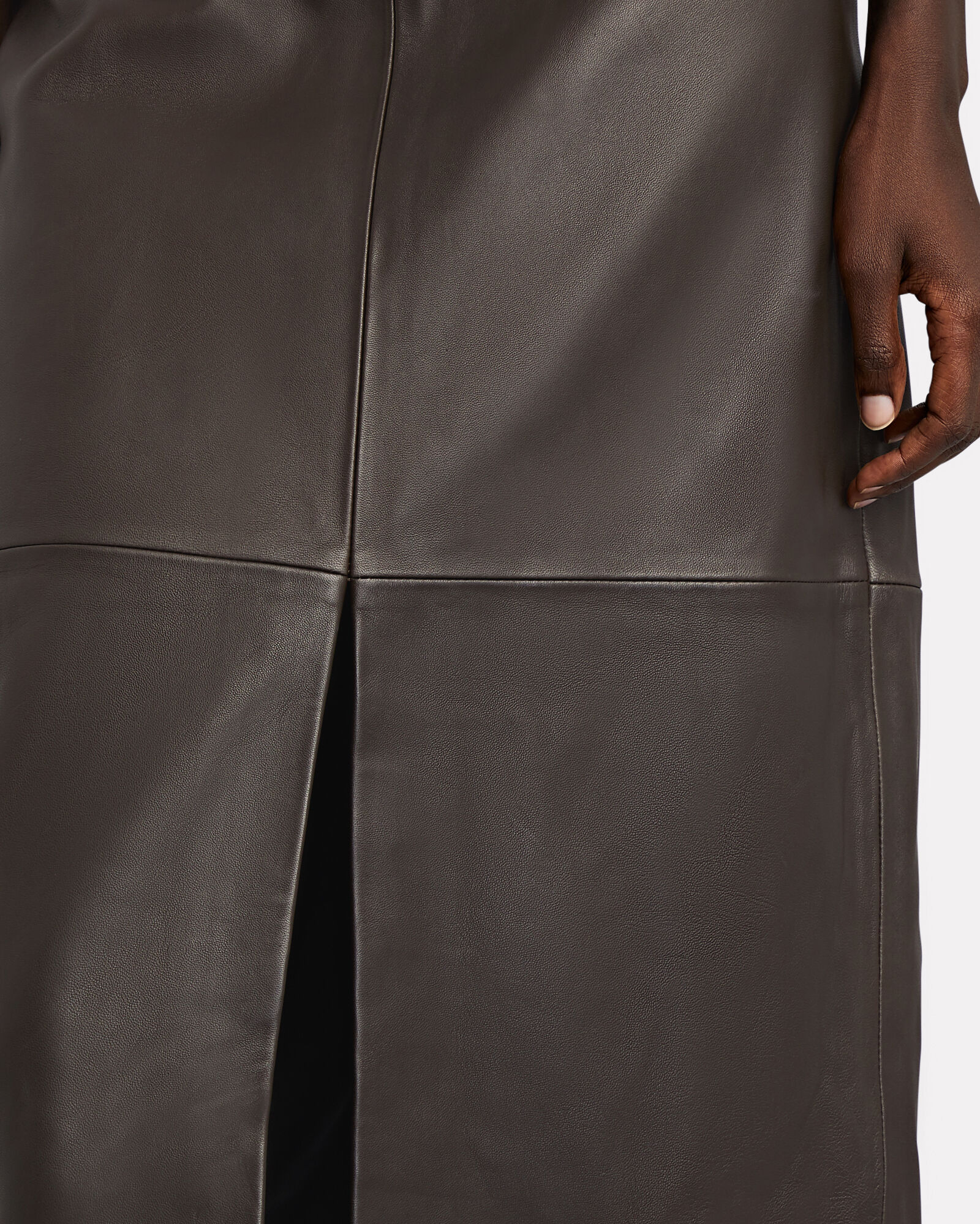 Moss Vegan Leather Skirt, BROWN, hi-res