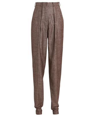 Pleated High-Waist Wool Pants, BROWN, hi-res