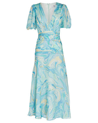 Carolina Silk Chiffon Dress, MARBLED PALE BLUE, hi-res