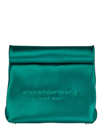 Satin Lunch Bag Clutch, EMERALD, hi-res