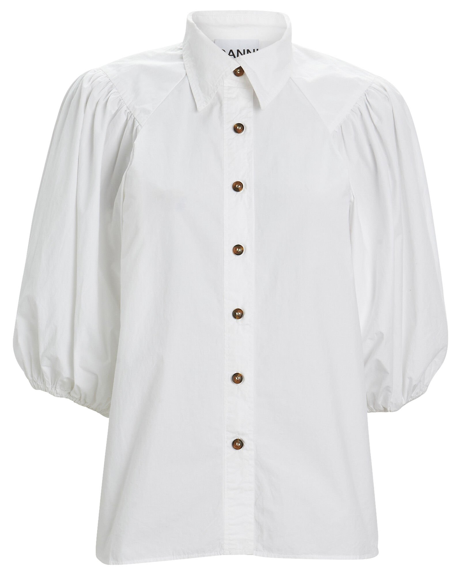 Puff Sleeve Poplin Button Down Blouse, WHITE, hi-res