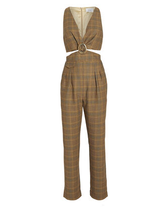 Amor Summer Tweed Cut-Out Jumpsuit, BROWN, hi-res