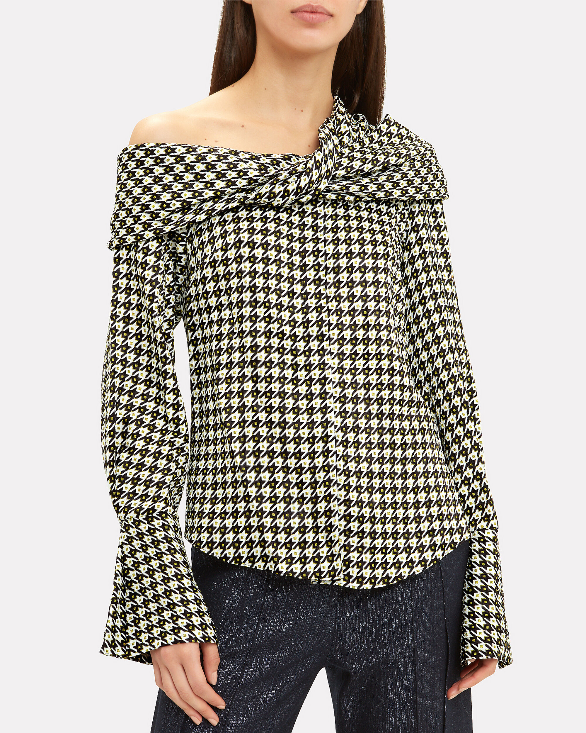 Calla Draped Houndstooth Top, BLK/WHT, hi-res