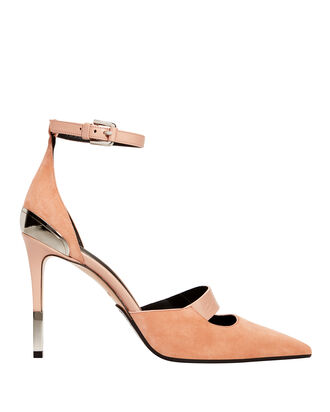 Logo Strap Pink Suede Stiletto Pumps, BLUSH, hi-res