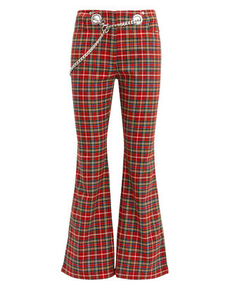Morgan Plaid Pants, RED-DRK, hi-res