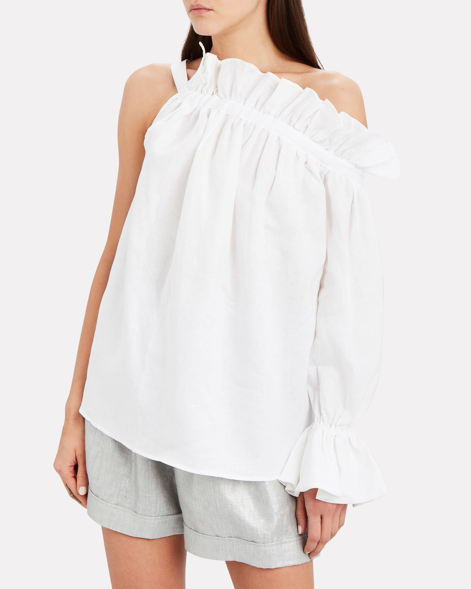 Operato Linen One-Shoulder Blouse, WHITE, hi-res