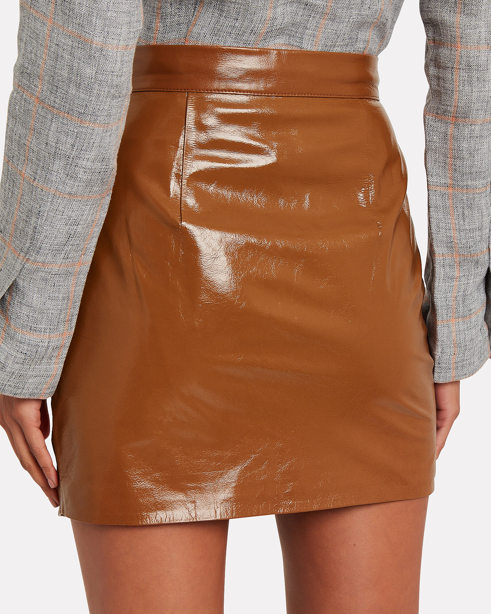 Asymmetrical Patent Leather Mini Skirt, COGNAC, hi-res