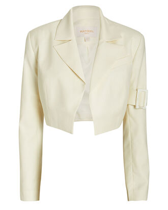 Twill Wool Bolero Jacket, IVORY, hi-res