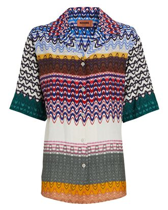 Knit Chevron Short Sleeve Shirt, RAINBOW, hi-res