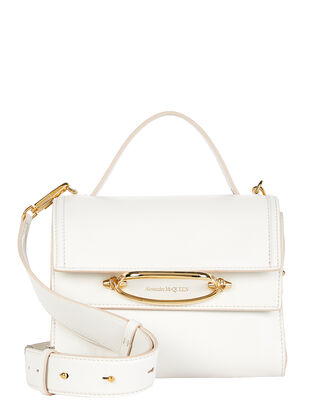 Small Double Flap Leather Bag, WHITE, hi-res