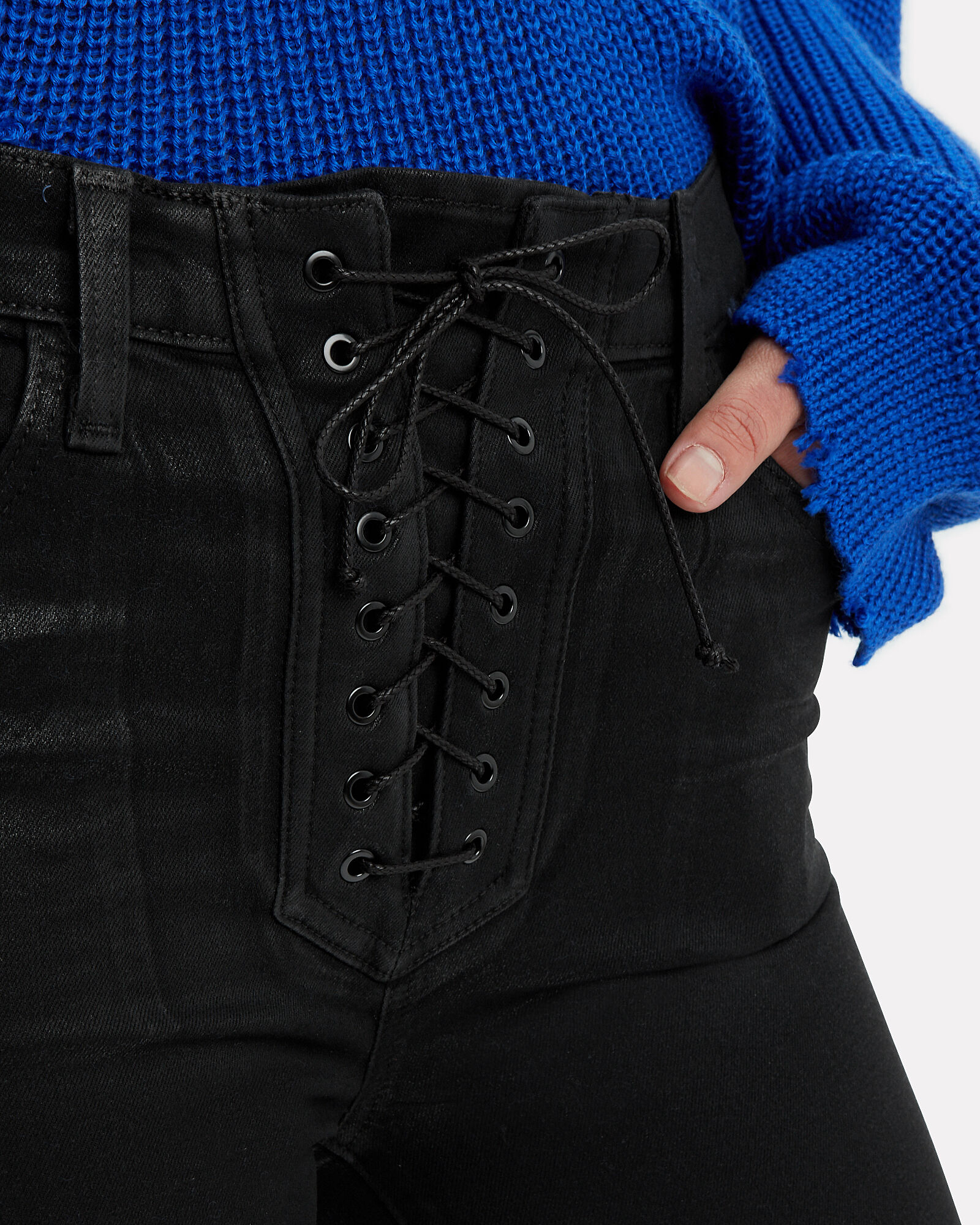 Coated Lace Up Jeans, BLACK DENIM, hi-res