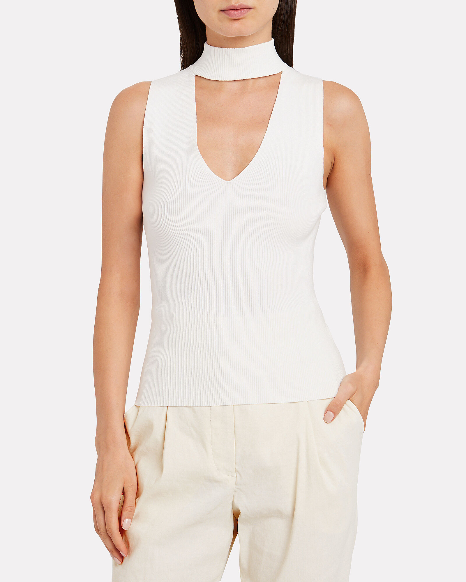 Colby Ribbed Choker Neck Top, WHITE, hi-res