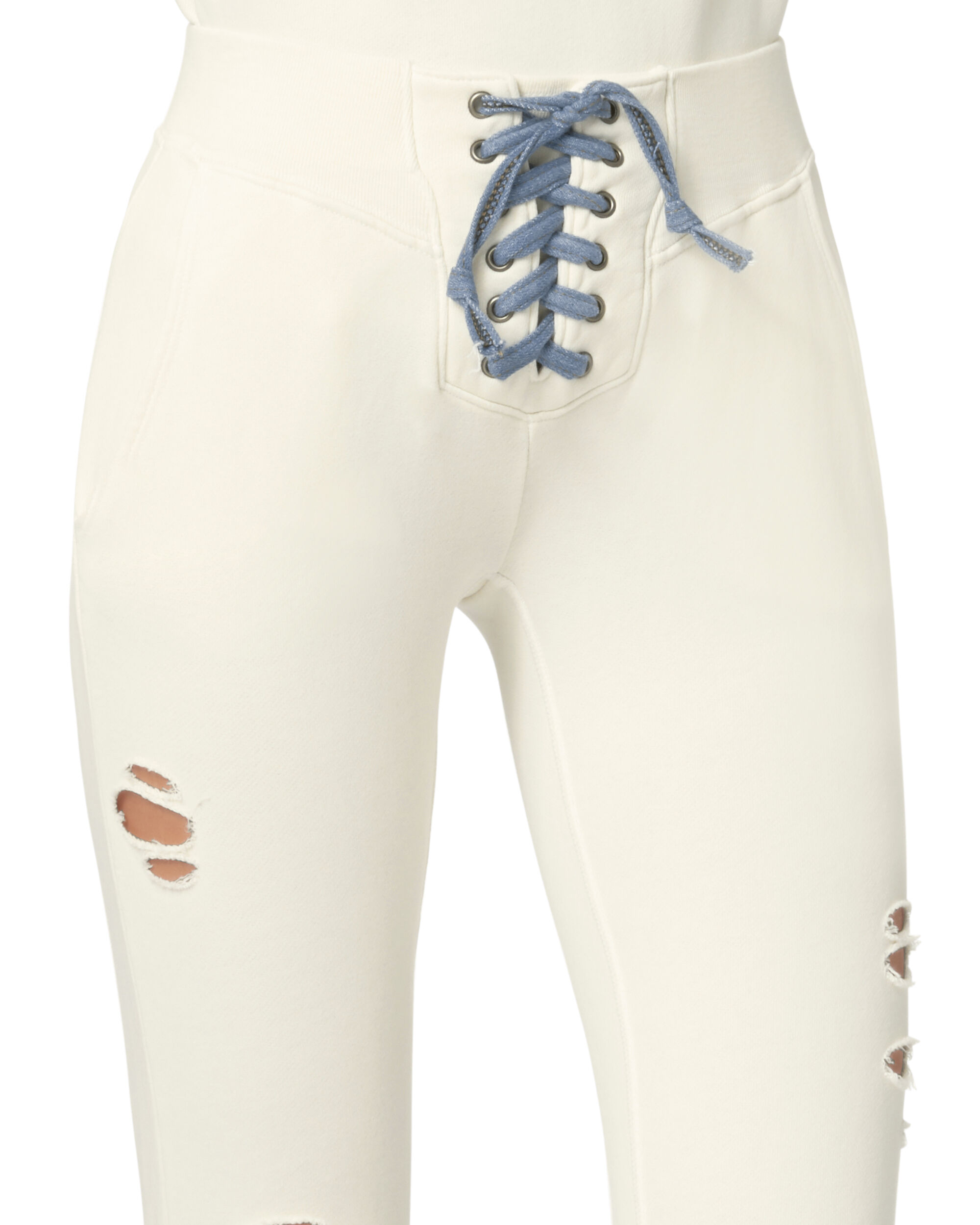 Maddox Lace-Up Ivory Sweatpants, IVORY, hi-res