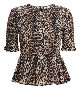 Leopard Print Smocked Top, BROWN/BLACK, hi-res