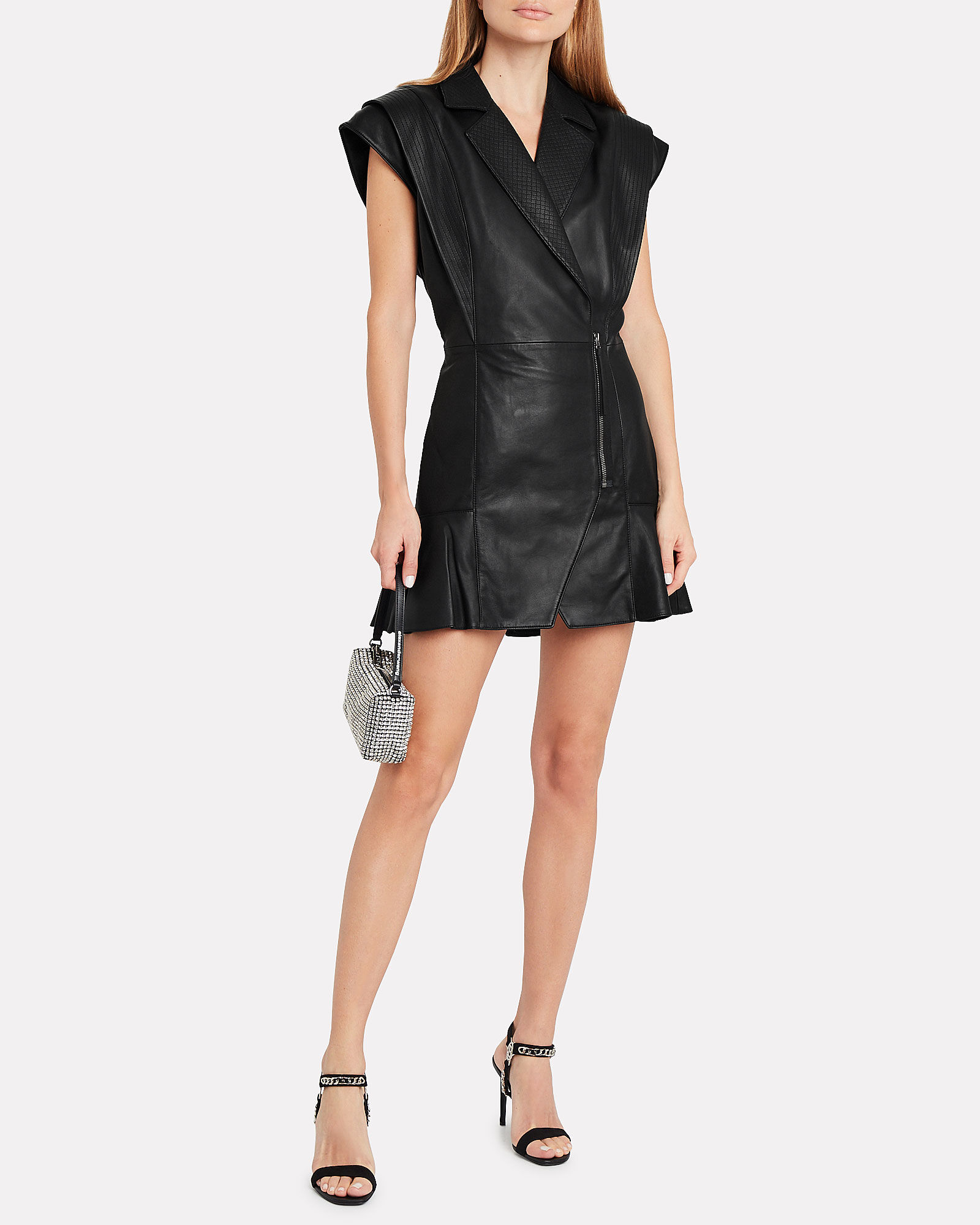 Jessica Leather Mini Dress, BLACK, hi-res