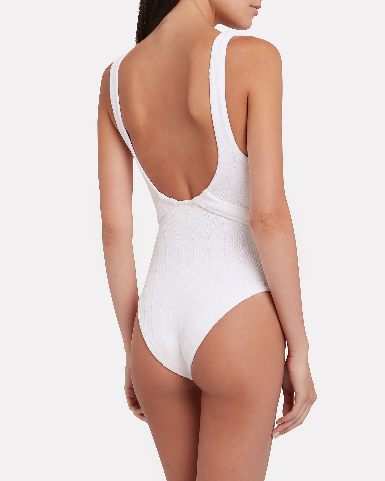Solitaire One Piece Swimsuit, WHITE, hi-res