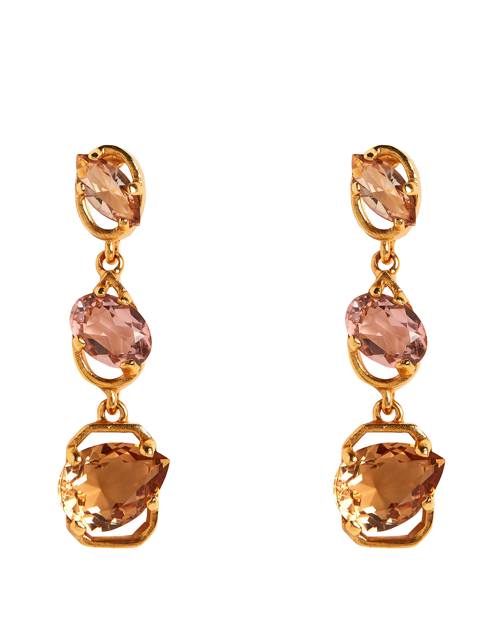 Tiered Crystal Earrings, GOLD/PINK, hi-res