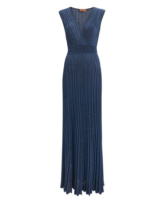 Lurex Pleated Gown, NAVY, hi-res