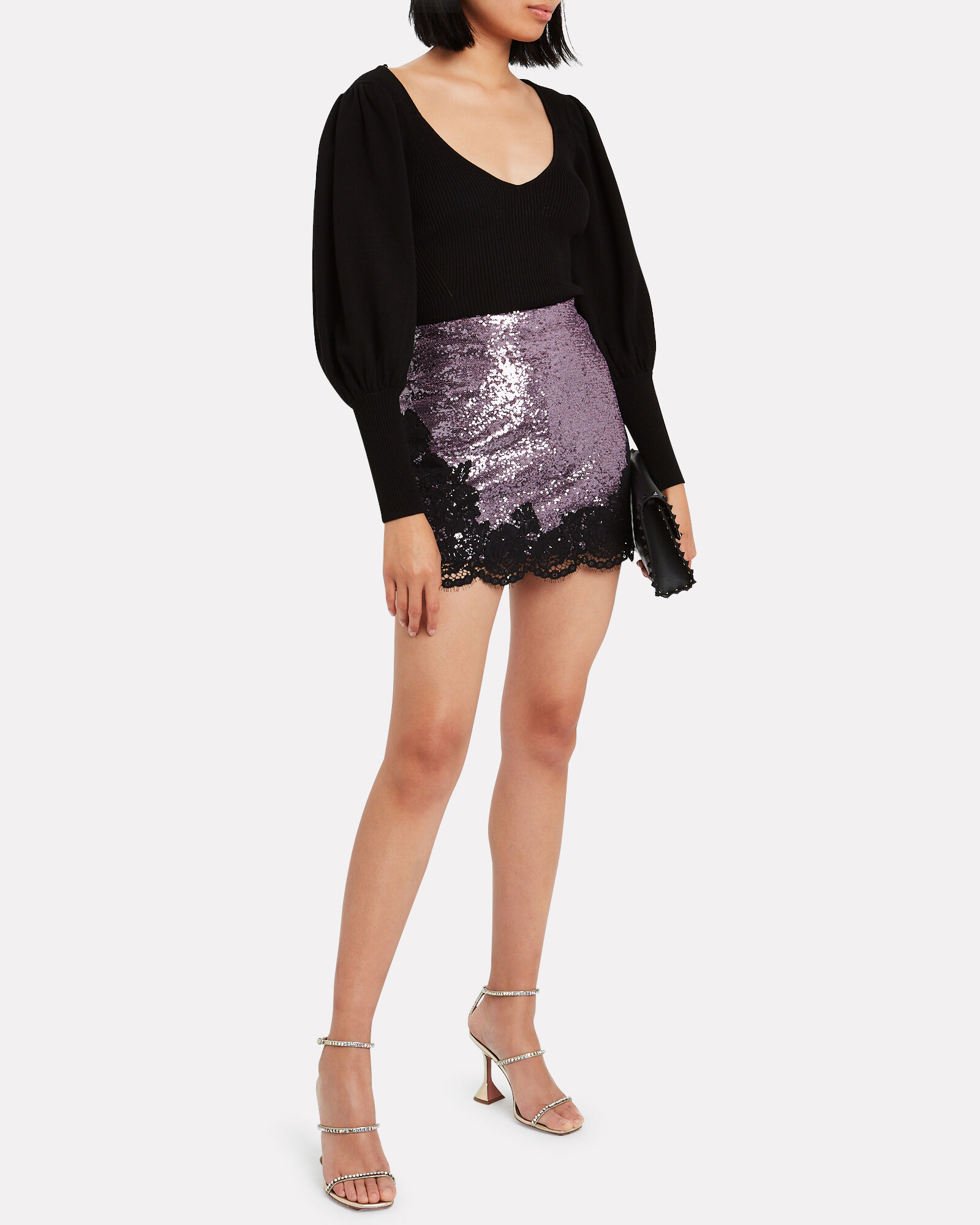 Lace-Trimmed Sequined Mini Skirt, PURPLE, hi-res