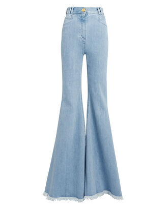 Frayed Hem Flare Jeans, LIGHT BLUE DENIM, hi-res