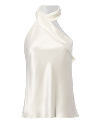 Asymmetric Sash Neck White Top, WHITE, hi-res