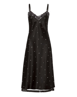 Flower-Studded Satin Slip Dress, BLACK, hi-res