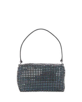 Rhinestone Medium Pouch Clutch, NAVY/BLACK, hi-res
