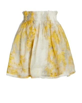 Botanica Floral Silk-Linen Mini Skirt, YELLOW/IVORY, hi-res
