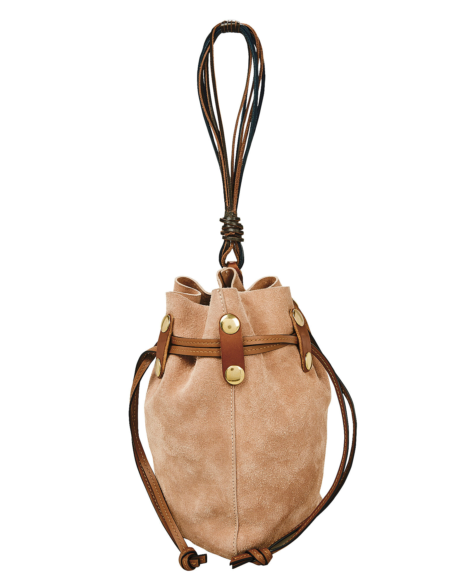 Bindle Brown Suede Pouch Bag, BLUSH, hi-res