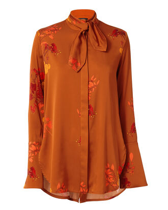Ride Lonesome Tie Neck Blouse, BROWN, hi-res