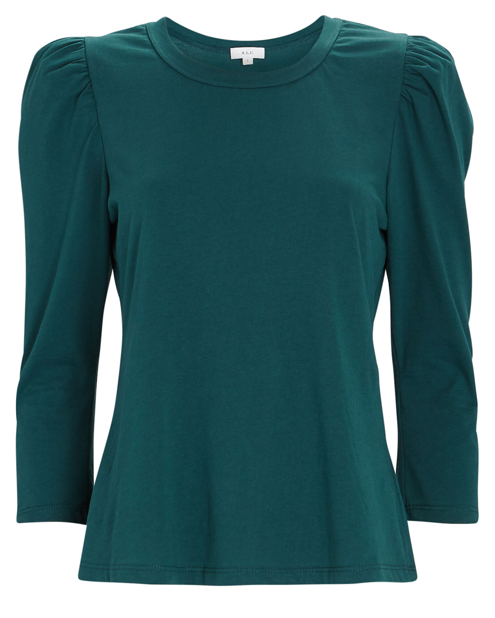 Karlie Puff Sleeve Cotton T-Shirt, GREEN, hi-res