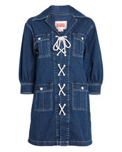 Denim Safari Lace-Up Dress, DENIM, hi-res